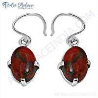 Girls Wear Sponge Coral Gemstone Silver Earrings