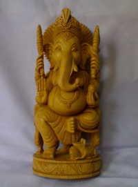 Wooden Carving Ganesha Statue