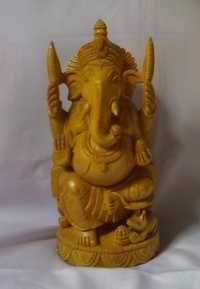 Seated Wooden Ganesha