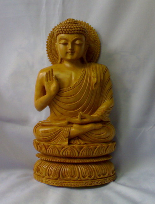 Hand Carved Wooden Buddha Statue