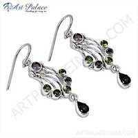 Fabulous Amethyst, Peridot & Purple Glass Gemstone Sterling Silver Earrings