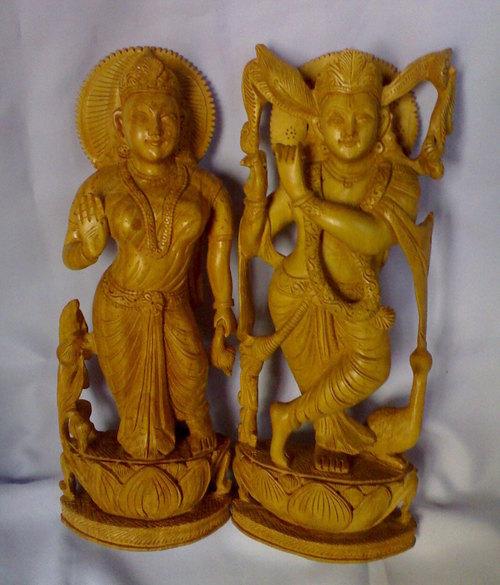 Wooden Radha Krishna Statue