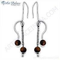 Latest Fashion Tiger Eye Gemstone Silver Earrings