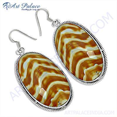 Fashionable Shell Gemstone Silver Earrings