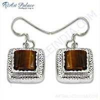 Victorian Designer Gemstone Silver Earrings With Tiger Eye
