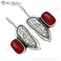 Stylish Coral & Pearl Gemstone Silver Earrings