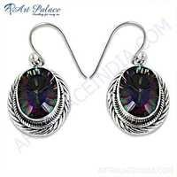Indian Touch Mystic Quartz Gemstone Silver Earrings