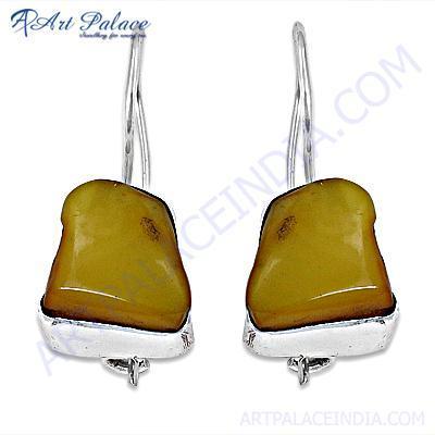 Trendy Amber Gemstone Sterling Silver Earrings