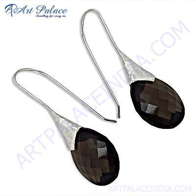 Fantastic Fashionable Smokey Quartz Gemstone Silver Earrings