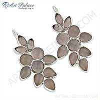 Precious Antique Rose Quartz Gemstone Silver Earrings