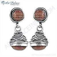 Fabulous Rhodochrosite Gemstone Sterling Silver Earrings