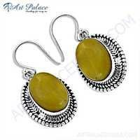 Victorian Designer Amber Gemstone Silver Earrings