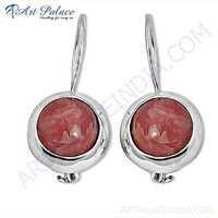 Latest Rhodochrosite Gemstone Silver Earrings