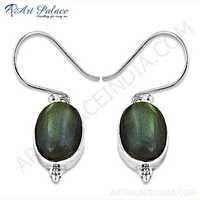 Trendy Labradorite Gemstone Silver Earrings