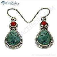 Party Wear Coral & Turquoise Gemstone Earrings