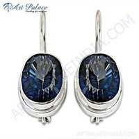 Shiney Mystic Quartz Gemstone Silver Earrings