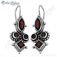 Fastival Designer Jewelry Gemstone Silver Earrings With Garnet