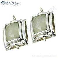 Delicate Crystal Gemstone Silver Earrings