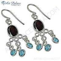 Feminine Unique Blue Topaz & Garnet Gemstone Silver Earrings