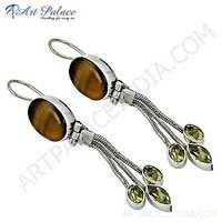 Fashion Accessories Citrine & Tiger Eye Gemstone Silver Earrings
