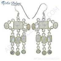 Indian Touch Rainbow Classic Gemstone Silver Earrings