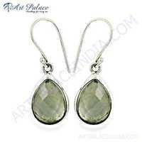 Charming Pear Crystal Gemstone Silver EArrings