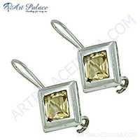Celeb Style Citrine Gemstone Sterling Silver Earrings