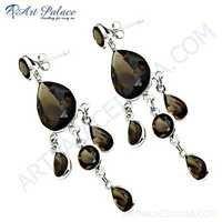 Party Wear Smokey Quartz Gemstone Earrings