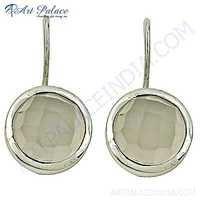 Delicate Chalcedony Gemstone Silver Earrings