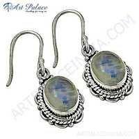 Vintage Designer Rainbow Moonstone Sterling Silver Earrings