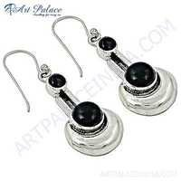 Nightlife Black Onyx Gemstone Silver Earrings