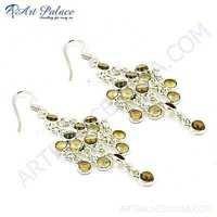 Party Wear Designer Citrine Gemstone Silver Earrings