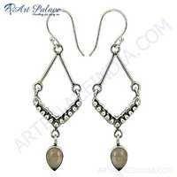 Trendy Rose Quartz Gemstone Silver Earrings