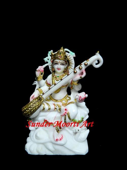 Goddess Marble Saraswati Statue