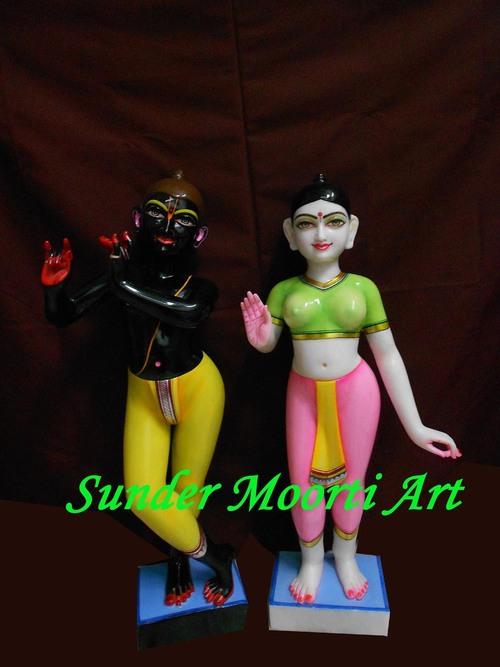 Black Marble Iskcon Radha Krishna Statue