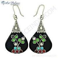 Ethnic Designer Multi Stone Silver Earrings