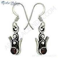 Indian Deisgner Gemstone Silver Earrings With Garnet