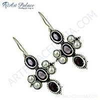 Inspired Garnet & Pearl Gemstone Sterling Silver Earrings