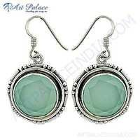 Indian Touch Chalcedony Gemstone Silver Earrings
