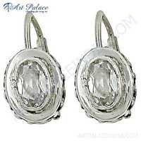 Charming Cubic Zirconia Gemstone Designer Silver Earrings