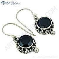 Ethnic Designer Gun Metal Gemstone Silver Earrings