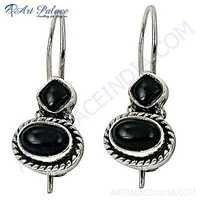 Traditional Designer Black Onyx Gemstone Silver Earrings