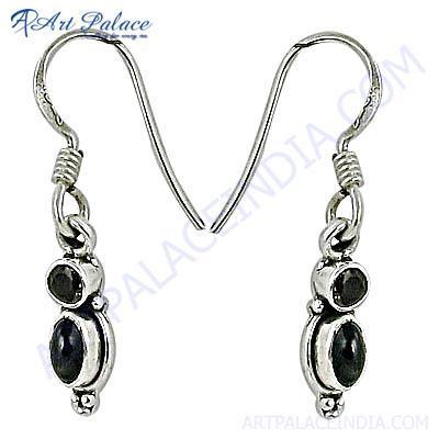 Indian Traditional Black Onyx & Smokey Quartz Gemstone Silver Earrings