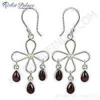 Party Wear Tourmaline Gemstone Silver Stylish Earrings
