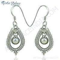 Feminine Unique Design Pearl Silver Earrings