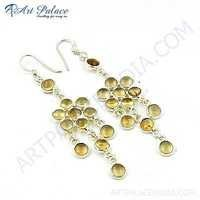 Party Wear Citrine Sterling Silver Gemstone Earrings