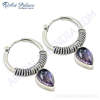 Amethyst Gemstone Designer Silver Hoop Earrings
