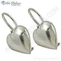 Romantic Heart Style Plain Silver Earrings