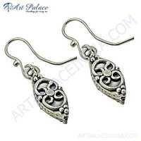 Ethnic Deisgner Plain Silver Earrings