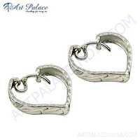 Heart Style Plain Silver Earrings